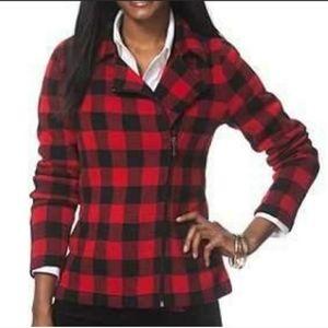Red Buffalo Check Zip Sweater Jacket Moto Plaid